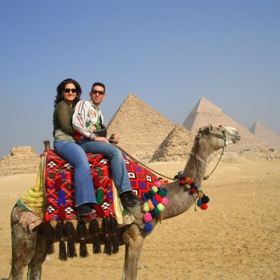 camel ride around pyramids